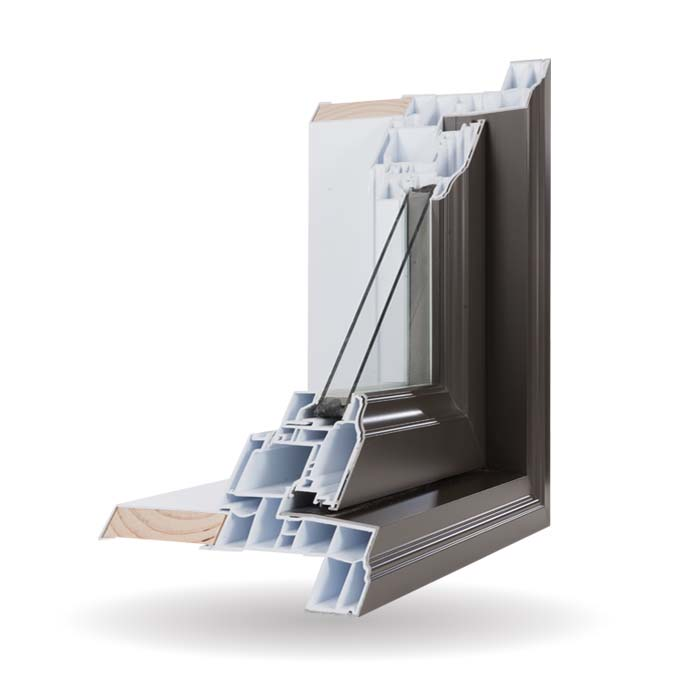 Hybrid PVC and Aluminum Windows - Brown