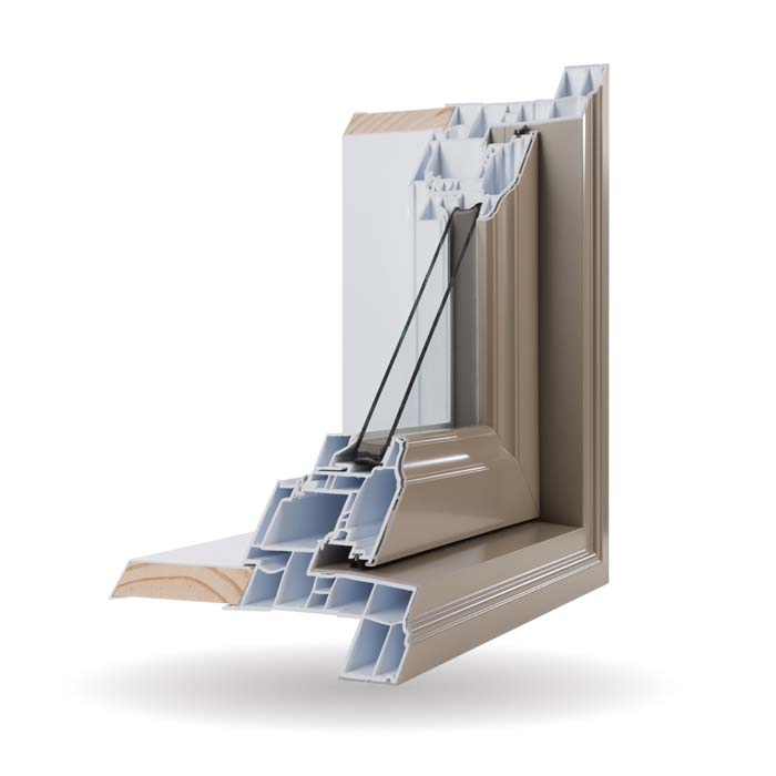 Hybrid PVC and Aluminum Windows - Khaki